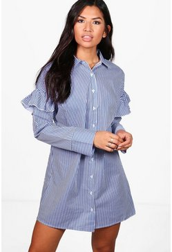 Blue Ruffle Shoulder Stripe Shirt Dress