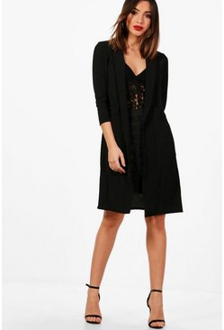 Black Woven Pocket Duster