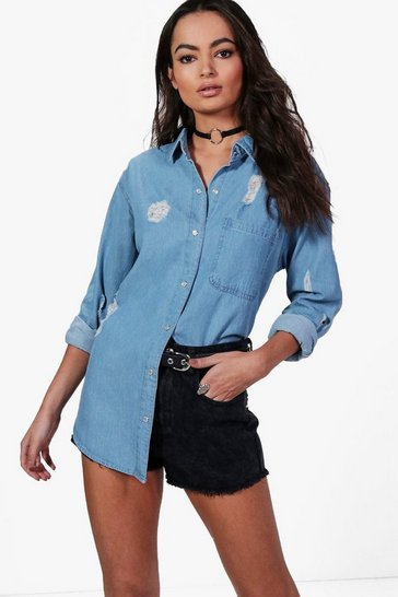 Blue Ellie Oversize Distressed Denim Shirt