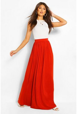 Copper orange Basic Floor Sweeping Jersey Maxi Skirt