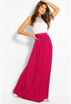 Magenta pink Basic Floor Sweeping Jersey Maxi Skirt