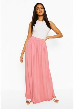 Dusky pink pink Basic Floor Sweeping Jersey Maxi Skirt