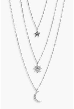 Silver Star Sun Moon Layered Necklace