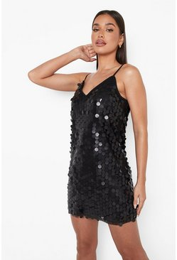 Black Rivinda Disc Sequin Slip Dress
