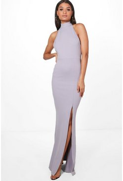 Lilac purple High Neck Split Leg Maxi Bridesmaid Dress