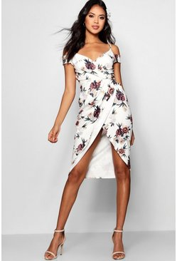 Ivory white Open Shoulder Floral Wrap Midi Dress