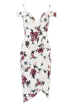 Ivory Open Shoulder Floral Wrap Midi Dress