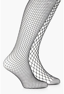Black Mixed Scale Fishnet Tights 2 Pack