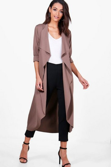 Mocha beige Waterfall Duster
