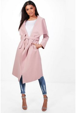 Blush pink Belted Waterfall Coat