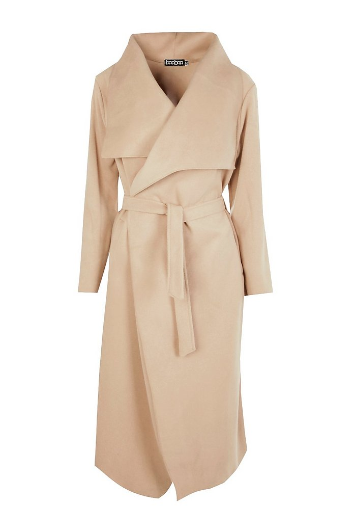 Belted Waterfall Coat | Boohoo UK
