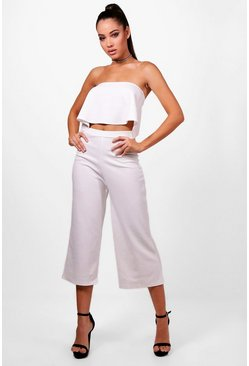 Ivory white Bandeau Top & Culottes Co-Ord Set