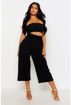 Black Tie Waist Culotte Two-Piece Set