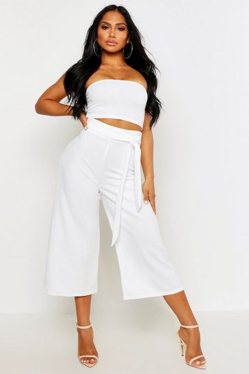 Cream white Tie Waist Culotte Co-Ord Set