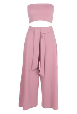 Rose Tie Waist Culotte Co-Ord Set
