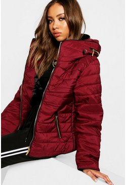 Wine red Quilted Jacket