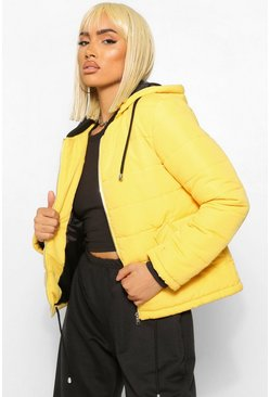 Mustard yellow Hooded Padded Jacket
