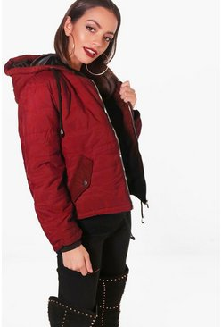 Wine red Hooded Padded Jacket