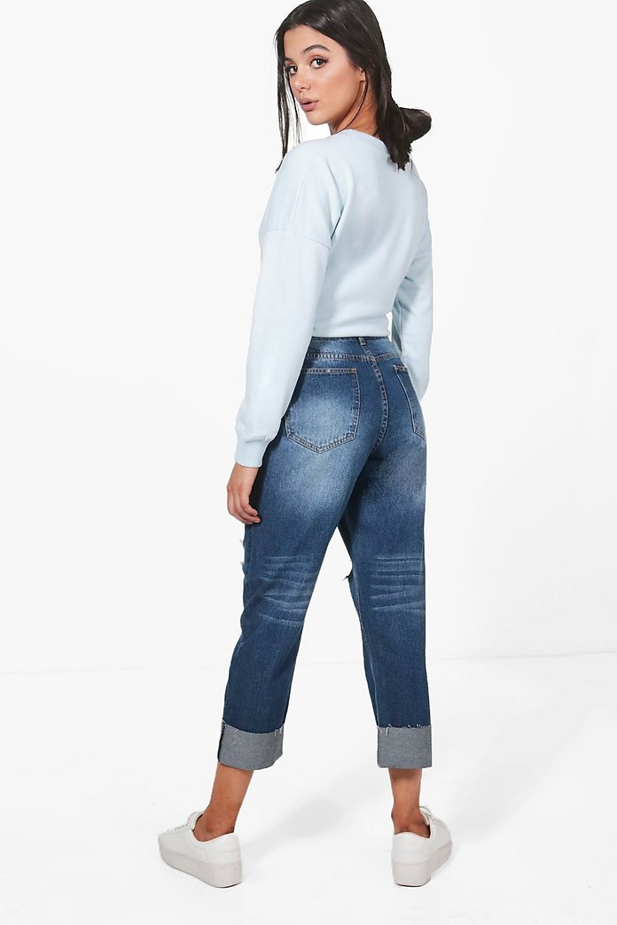 torre Perdóneme Guia  Lois Deep Cuff Boyfriend Jeans | boohoo Ireland
