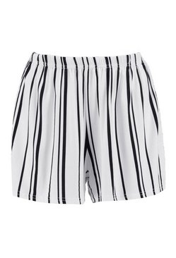 White Striped Jersey Shorts