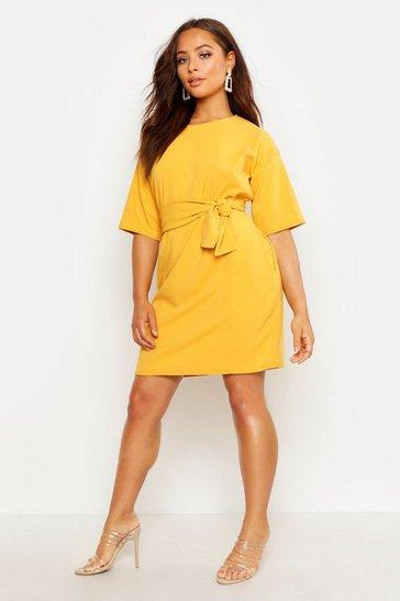 Mustard yellow Structured Tie Belt Waist Shift Dress