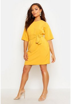 Mustard yellow Structured Tie Belt Waist Shift Dress