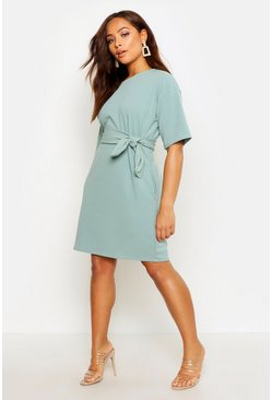 Sage green Structured Tie Belt Waist Shift Dress