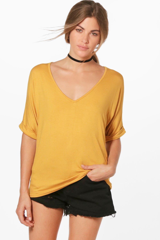 Basic Oversized V Neck T-Shirt | boohoo