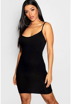 Black Basic Strappy Cami Bodycon Dress