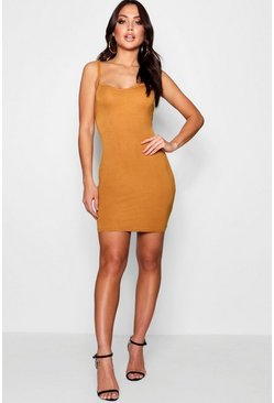 Mustard yellow Basic Strappy Cami Bodycon Dress