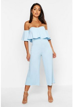 Baby blue blue Off The Shoulder Ruffle Culotte Jumpsuit