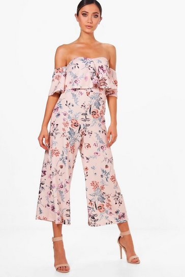 Multi Floral Print Off Shoulder Culotte Jumpsuit
