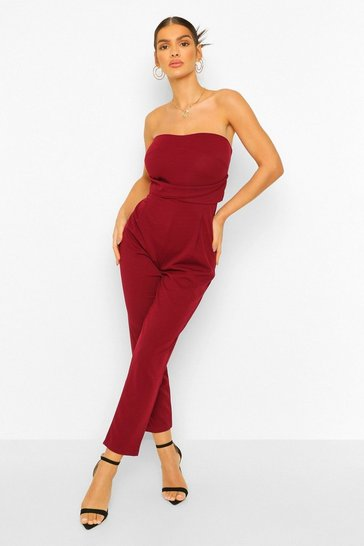Berry red Bandeau Tailored Woven Slim Fit Jumpsuit
