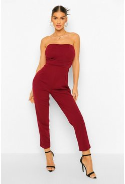 Berry Bandeau Tailored Woven Slim Fit Jumpsuit