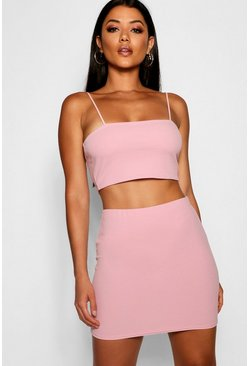 Blush pink Strappy Crop And Mini Skirt Co-Ord Set