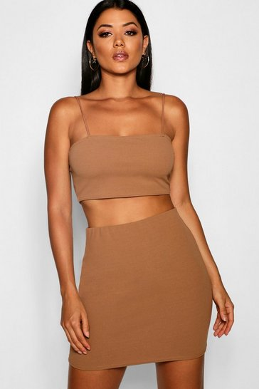 Camel beige Strappy Crop & Mini Skirt Co-ord Set