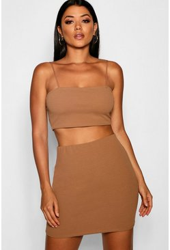 Camel beige Strappy Crop And Mini Skirt Two-Piece Set