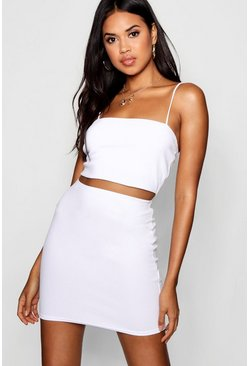 White Strappy Crop And Mini Skirt Co-Ord Set