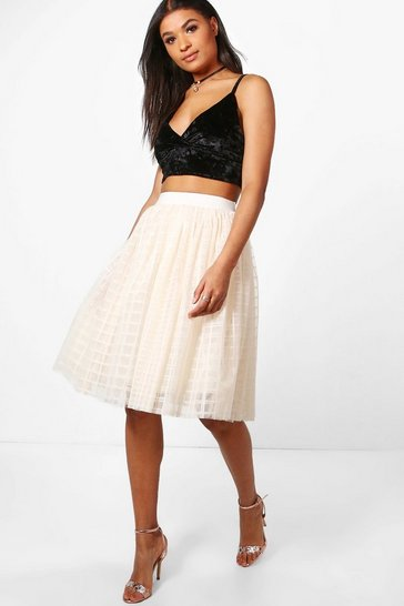 Cream white Boutique Amala Grid Tulle Full Midi Skirt