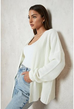 Cream white Oversized Rib Cropped Cardigan