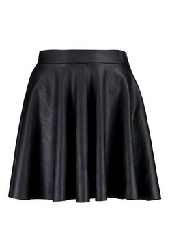 Black Leather Look Full Skater Skirt