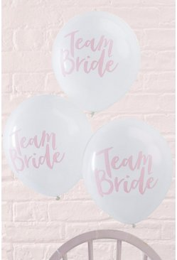 Lot de 10 ballons à slogan team bride, Blanc