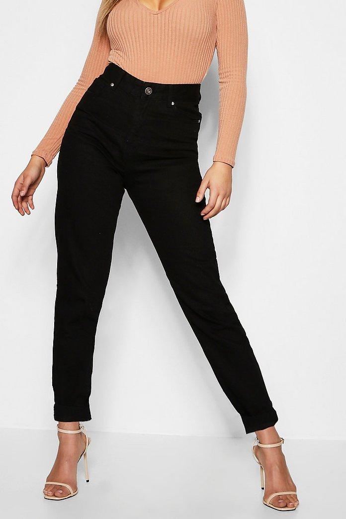 Mom jeans med hög midja och uppvikta ben | boohoo SE