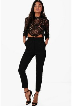 Boutique  Crop & Trouser Co-ord Set, Black