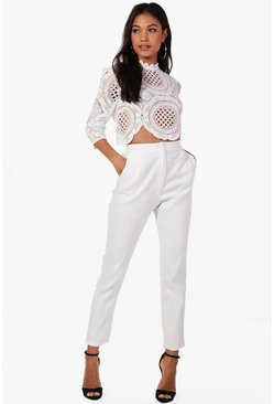 Ivory white Boutique  Crop & Trouser Co-ord Set