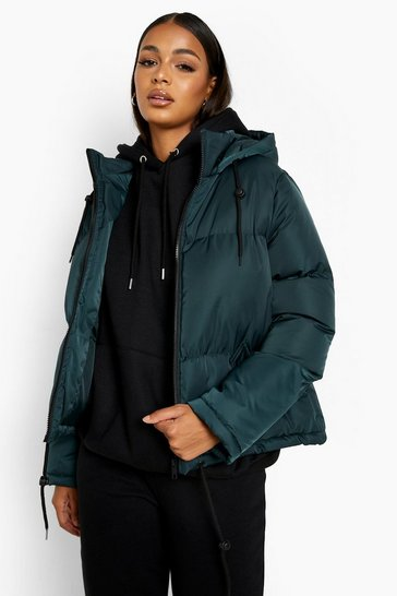 Teal green Hooded Padded Jacket