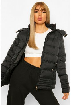 Black Quilted Faux Fur Trim Jacket