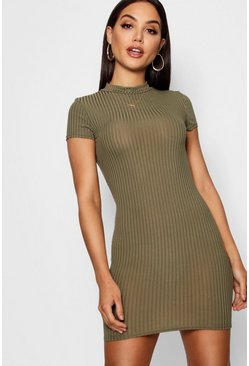 Khaki High Neck Cap Sleeve Rib Bodycon Dress