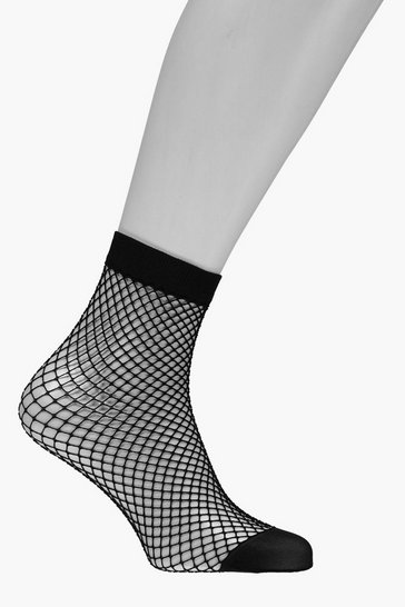 Black Medium Scale Fishnet Ankle Socks