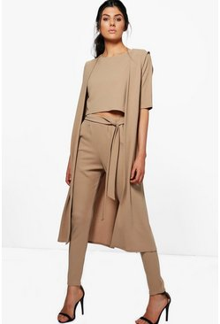 Tan brown Jill 3 Piece Pants Crop & Duster Two-Piece